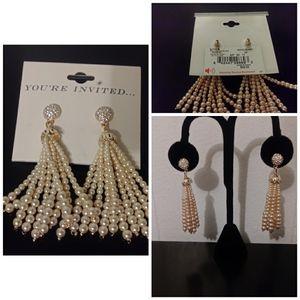 NWT Pearl & Rhinestone Earrings: Pale Pink Color